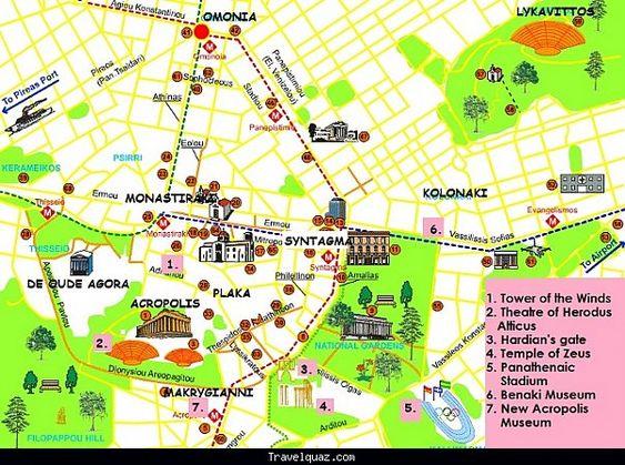 mappa quartieri di Atene
