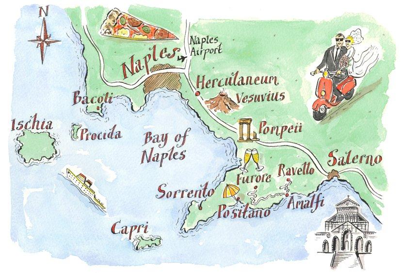 mappa costiera amalfitana